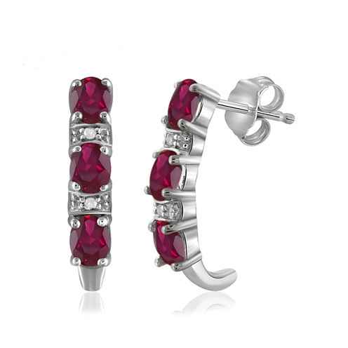 Diamond Accent & Lead-glass Filled Ruby Sterling Silver Drop Earrings
