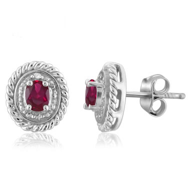 jcpenney.com | Oval Red Lead Glass-Filled Ruby and Diamond Accent Stud Earrings in Sterling Silver