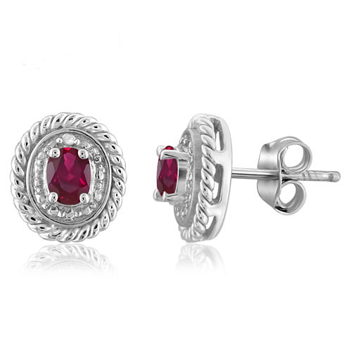 Oval Red Lead Glass-Filled Ruby and Diamond Accent Stud Earrings in Sterling Silver