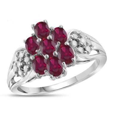 jcpenney.com | Womens Diamond Accent Red  Lab Created Ruby in Sterling Silver Cluster Ring