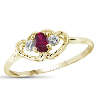 jcpenney.com | Womens Diamond Accent and Lab-Created  Red Ruby Gold Over Silver Delicate Ring