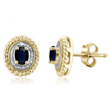 jcpenney.com | Diamond Accent Oval Blue Sapphire Gold Over Silver Stud Earrings
