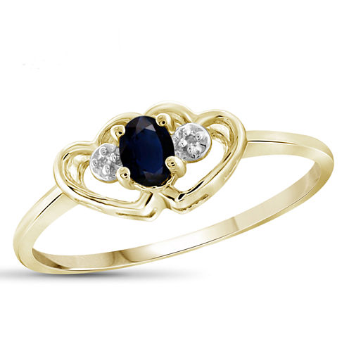 Womens Diamond Accent Blue Sapphire Gold Over Silver Delicate Ring