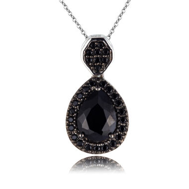 jcpenney.com | Womens Black Spinel Sterling Silver Pendant Necklace