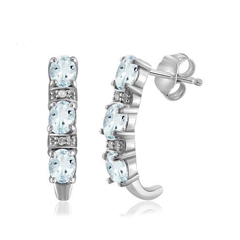 Diamond Accent Blue Aquamarine Sterling Silver Drop Earrings