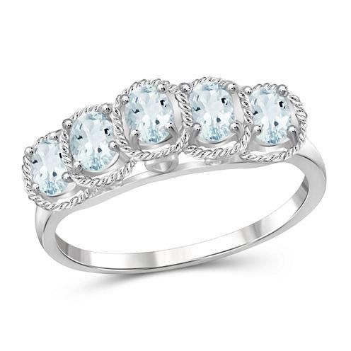 Womens Blue Aquamarine Sterling Silver Side Stone Ring