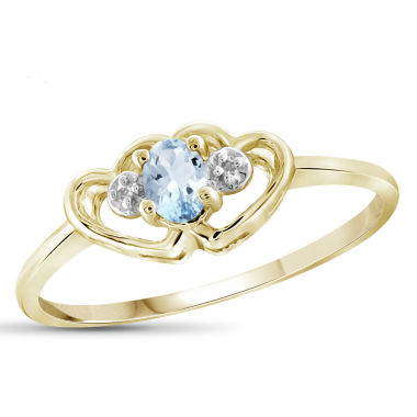jcpenney.com | Womens Diamond Accent Blue Aquamarine Gold Over Silver Delicate Ring