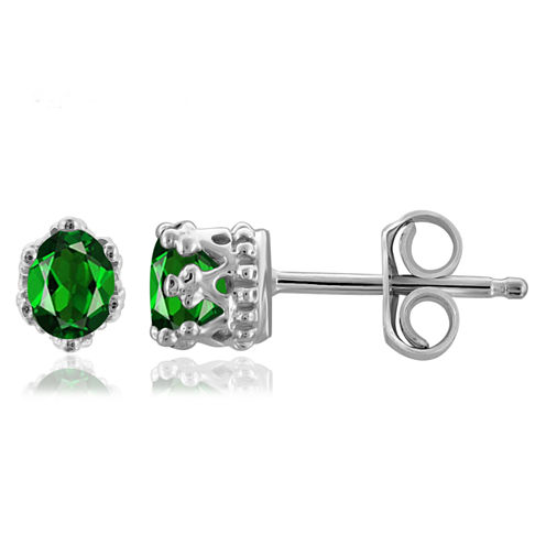 Oval Green Chrome Diopside Sterling Silver Stud Earrings