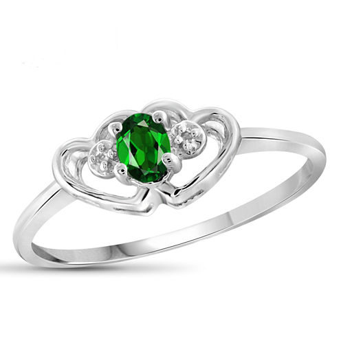 Womens Diamond Accent Green Chrome Diopside Sterling Silver Delicate Ring