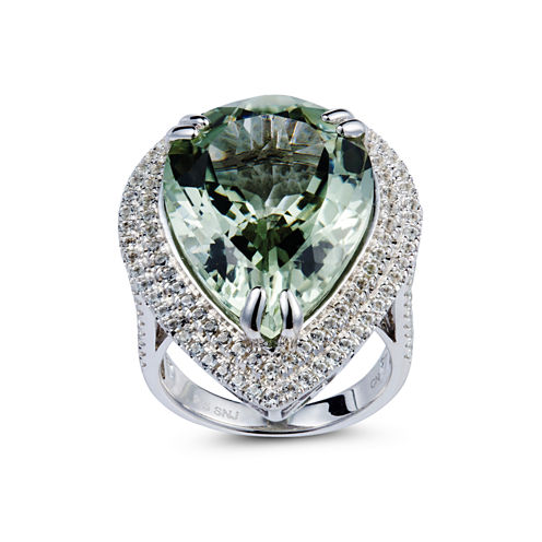 Womens Green Amethyst Sterling Silver Halo Ring