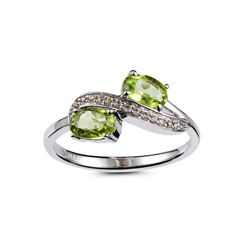 Womens Green Peridot Sterling Silver Bypass Ring