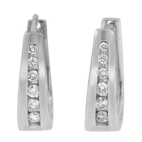 1/4 CT. T.W. White Diamond 14K Gold Hoop Earrings