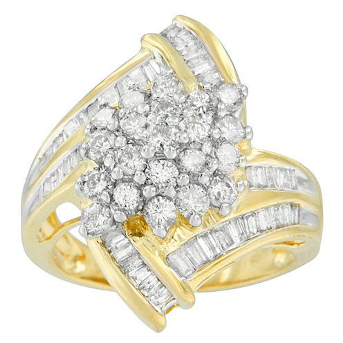 Womens 2 CT. T.W. Diamond 10K Gold Cluster Ring
