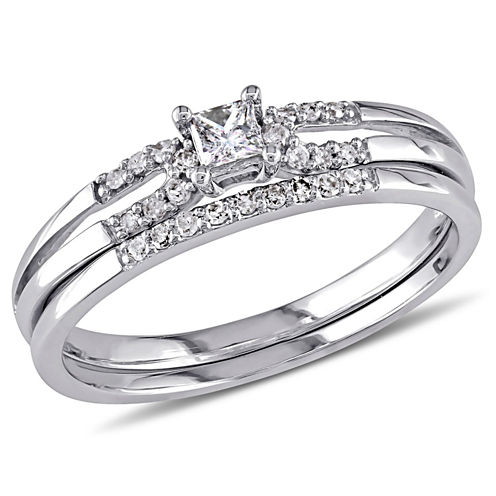 1/5 CT. T.W. White Diamond 10K Gold Bridal Set