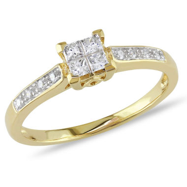 jcpenney.com | 1/4 CT. T.W. Princess White Diamond 10K Gold Engagement Ring