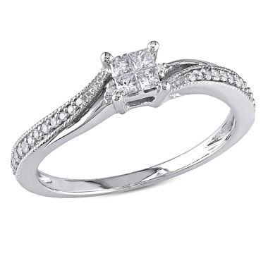 jcpenney.com | 1/5 CT. T.W. Princess White Diamond 10K Gold Engagement Ring
