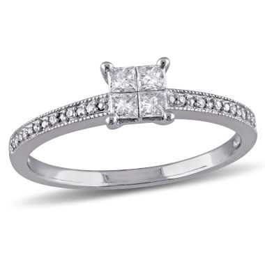 jcpenney.com | 1/3 CT. T.W. Princess White Diamond 10K Gold Engagement Ring