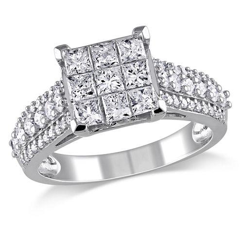 1 1/2 CT. T.W. Princess White Diamond 10K Gold Engagement Ring