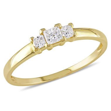 jcpenney.com | 1/4 CT. T.W. Princess White Diamond 10K Gold 3-Stone Ring