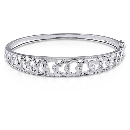 Womens Diamond Accent White Diamond Accent Sterling Silver Bangle Bracelet