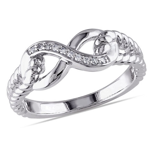 Womens Diamond Accent White Diamond Accent Sterling Silver Cocktail Ring