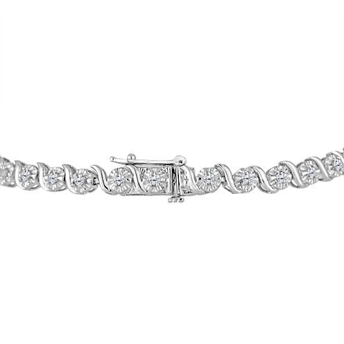Womens 1 CT. T.W. White Diamond Sterling Silver Tennis Bracelet
