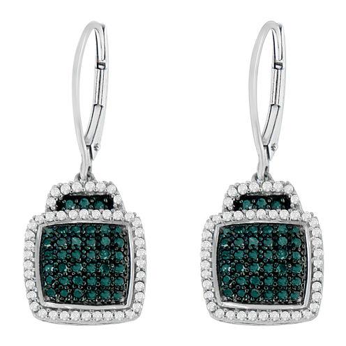 3/4 CT. T.W. Blue Diamond Drop Earrings