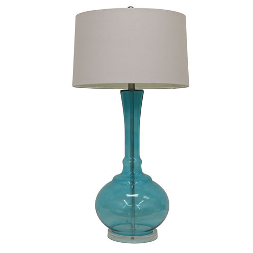 Décor Therapy Spa Blue Glass Table Lamp