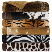 Scene Weaver™ Animal Print Faux-Fur Throw