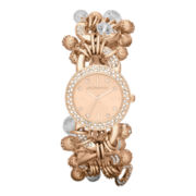 Liz Claiborne Womens Rose-Tone & Crystal Charm Bracelet Watch