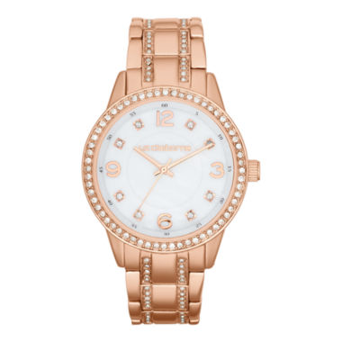 jcpenney.com | Liz Claiborne® Womens Rose-Tone Crystal Large-Scale Watch