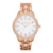 Liz Claiborne® Womens Rose-Tone Crystal Large-Scale Watch