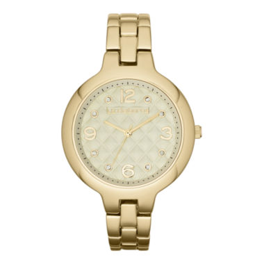 jcpenney.com | Liz Claiborne® Womens Gold-Tone Quilted Watch