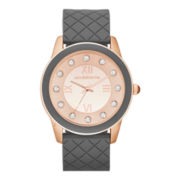 Liz Claiborne® Womens Rose-Tone & Gray Quilted Strap Watch