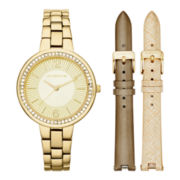 Liz Claiborne® Gold-Tone Watch Box Set with Alternate Straps