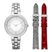 Liz Claiborne® Silver-Tone Watch Box Set with Alternate Straps