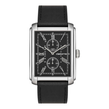 jcpenney.com | Claiborne Mens Rectangular Dial & Black Leather Strap Multifunction Watch