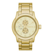 Claiborne Mens Round Dial Gold-Tone Multifunction Watch