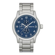Claiborne Mens Round Dial Silver-Tone Multifunction Watch