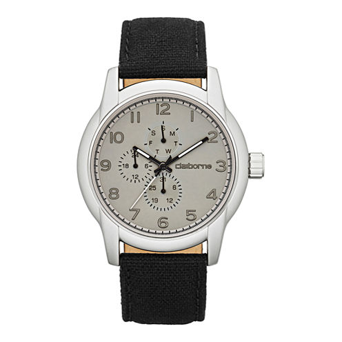 Claiborne Mens Round Dial Multifunction Black Canvas Strap Watch