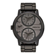 Claiborne Mens Oversized Dial Multifunction Black Bracelet Watch