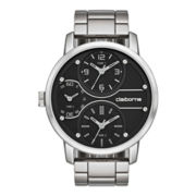 Claiborne Mens Oversized Dial Multifunction Silver-Tone Bracelet Watch