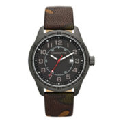 Claiborne Mens Gunmetal Case & Camouflage Strap Watch