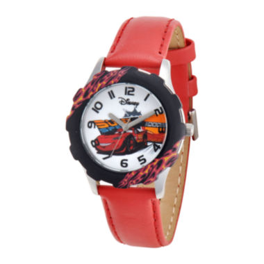 jcpenney.com | Disney Cars Red Leather Strap Watch