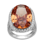 Alexandra Gem Orange & White Cubic Zirconia Cocktail Ring