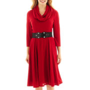Robbie Bee® 3/4-Sleeve Infinity Scarf Belted Sweater Dress - Petite