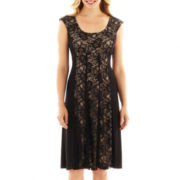 London Style Collection Cap-Sleeve Lace Fit-And-Flare Dress - Petite