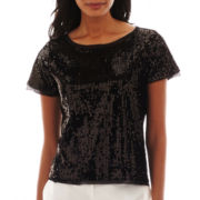 Worthington® Short-Sleeve Sequin Top - Tall