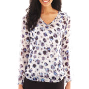 Liz Claiborne® Long-Sleeve V-Neck Blouse with Cami - Tall