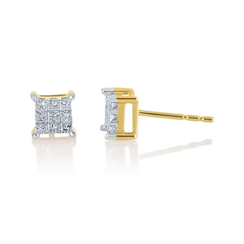 1/2 CT. T.W. Princess Diamond 10K Stud Earrings